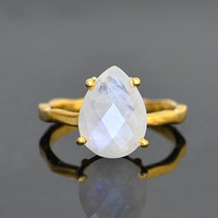 Faceted Rainbow Moonstone 18K Vermeil Gold  or Sterling Silver ring - teardrop peardrop shape stacking prong set ring - June ring
