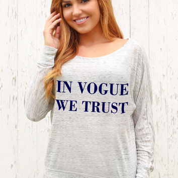 In Vogue We Trust - Off The Shoulder Long Sleeve