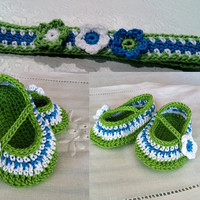 Baby Girl Mary Janes Booties  and Headband Set, Crochet Pattern PDF 12-046