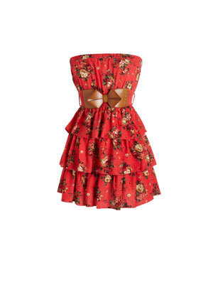 Tiered Floral Belted Tube Dress