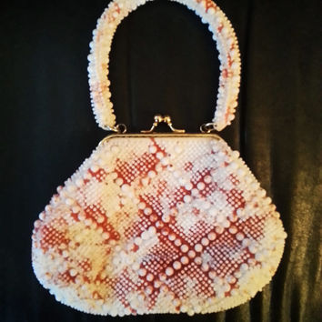 Vintage white beaded blood splatter (spatter) purse with brass hardware
