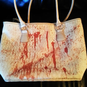 Off-white blood splatter (spatter) purse with magnetic snap clousure