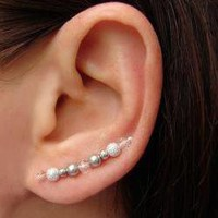 Ear Pins - White Swarovski Pearls, .. on Luulla