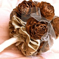 Rustic Wedding Bouquet, Pine Cone wedding, pine cone bouquet, alternative wedding bouquet, pine cone rose bouquet, rustic wedding