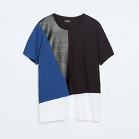 T-shirt with faux leather detail
