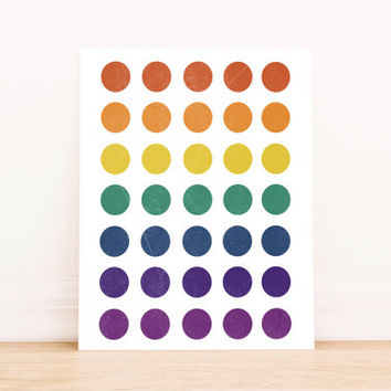 Printable Art Abstract Rainbow Circles Geometric Poster Office Art Nursery Art Apartment Art Decor Dorm Art Bathroom Art