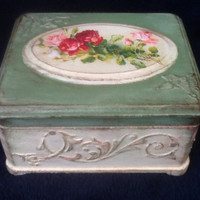 "Hand Made Vintage Jewelry Box style Dekape ""Morning"". Antique Decoupage with Artistic portrayal."
