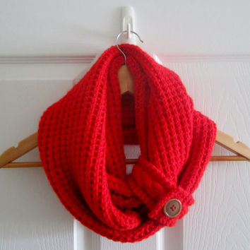 Bright Red Infinity Scarf ~ Super Soft Scarf ~ Scarf with Button Detail ~ Chunky Knit Infinity Scarf in a Premium Red Acrylic ~ Hand Knit