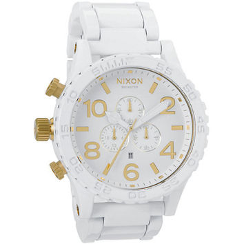 Nixon 51-30 All White & Gold Chronograph Watch