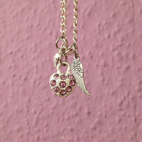 Heart necklace, pink necklace, angel wing necklace, silver plated