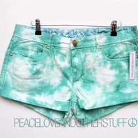 SALE - Hipster Low Rise GreenTie Dye shorts - UK 14, US 10 by PeaceLoveAndOtherStuff