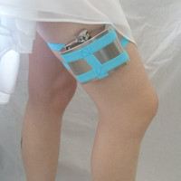 Bright sky blue flask garter by Garters By Lori