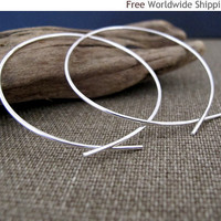 Elegant Jewelry - Omega Hoop Earrings - Modern Sterling Silver Earrings by NadinArtDesign