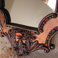 Hand Painted Jewelled Victorian Style Mirror with Swarovski Rhinestones, Beads & Cabochons, Copper Finish