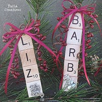 Personalized Scrabble Tile Ornament w/Pewter Charm - 2 to 5 Letters