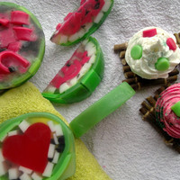 Watermelon Gift Soap Set, red, green, bath butter: Soap Art