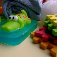 Children's bath toy - crocodile, green, blue glycerin soap pond