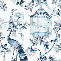 Oiseaux et Fleurs Porcelain Wallpaper