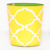Worlds Away Oval Wastebasket Acadia Yellow and Cream