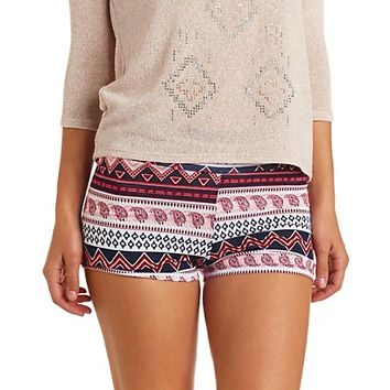 HIGH-WAISTED TRIBAL & PAISLEY PRINT BIKE SHORTS