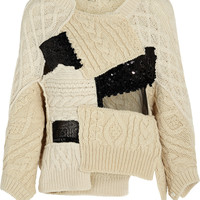 Junya Watanabe - Patchwork cable-knit wool-blend sweater