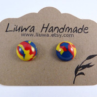 Polymer Clay Earrings, Primary Colors Marble Clay Dot Earrings, Surgical Stainless Steel Posts