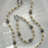 Swarovski Crystal Pearl Necklace and Bracelet Set, Sterling Silver and Pearl Set, Pearl Bracelet, Pearl Necklace