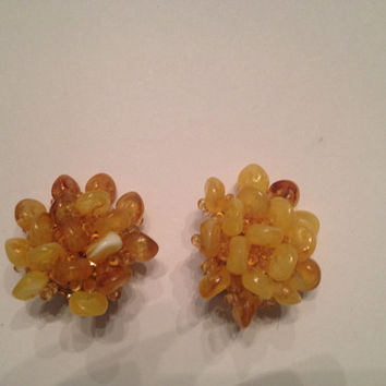 Vintage Yellow Art Glass Cluster Earrings Costume Jewelry