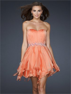 Strapless Beaded Ruched Bodice Layered Short Chiffon Prom Dress PD1909