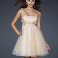 A-line Empire Waist with Straps Applique Knee Length Prom Dress PD1910