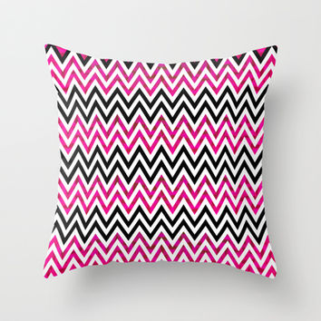 Pink Chevron Throw Pillow by Ornaart