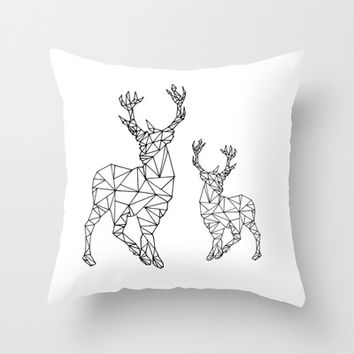Geometric deer Throw Pillow by nlimme