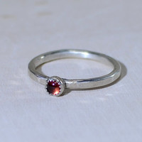 Hammered sterling silver stacking ring with red Garnet