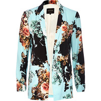River Island Womens Turquoise floral print open front blazer