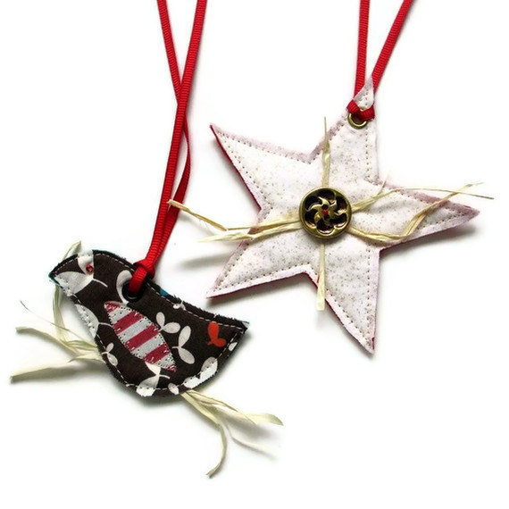 Christmas Gift Tags, Reusable Gift Tags, Rustic Ornaments (2)