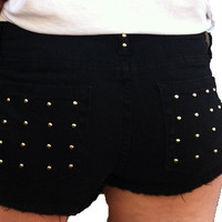Xandra Studded Black Cutoffs