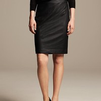 Perforated Faux-Leather Pencil Skirt