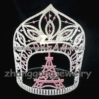 7'' Hot Eiffel Tower Design Large Custom Pageant Crowns. Sizes Available - Buy Crowns,Large Pageant Crowns,Crystal Eiffel Tower Product on Alibaba.com