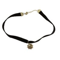 Mathilda Choker // Custom Handmade Black Choker with Sun Charm