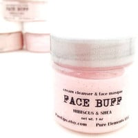 Travel Size = Hibiscus and Shea Facial Cleanser and Face Mask - Antioxidant and Vitamin C for Dull or Aging Skin - Exfoiliating