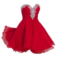 VILAVI Women's A-line Sweetheart Short Chiffon Rhinestone Homecoming Dresses 6 Red
