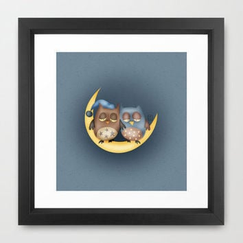 Sleepy Hoots Framed Art Print by Carina Povarchik | Society6