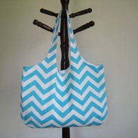 Summer Chevron Tote, Book Bag, Beach Bag, in Aqua and White