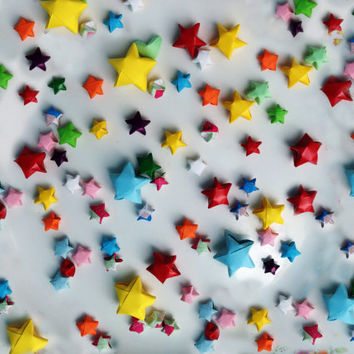 bulk 1000 lucky stars in variety solid colour, pattern and variety size - origami wishing star