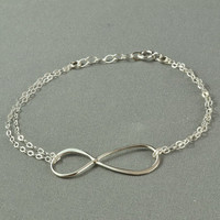 Double Chain INFINITY Bracelet, 925 Sterling Silver, Modern, Simple, Pretty, Metal Charm Bracelet