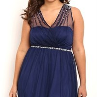 Plus Size Short Homecoming Dress with Illusion Tank Straps and Stones
