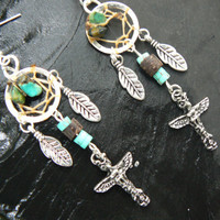tribal earrings dreamcatcher earrings turquoise   in tribal fusion native american boho hippie belly dancer and hipster style