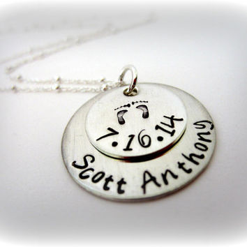 Mommy Baby Feet Sterling Silver Necklace-Personalized Mommy Necklace with Name and Birthdate