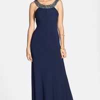 Sean Collection Embellished Open Back Gown