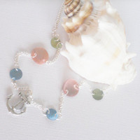Nautical Anchor Necklace with Green, Pink and Blue Mussel Shells